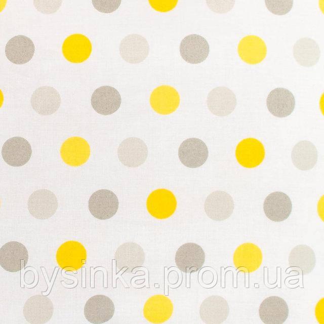 Простынь на резинке в детскую коляску BabySoon Горошек серый и желтый 80 х 40 см (259)