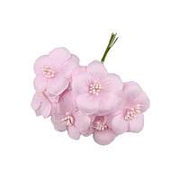 Розовые Цветы из ткани и фатина (тканевые) с тычинками D5,5 см Декоративный букетик 5 шт/уп