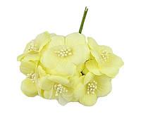 Цветы Лимонные желтые из ткани и фатина (тканевые) с тычинками D5,5 см Декоративный букетик 5 шт/уп