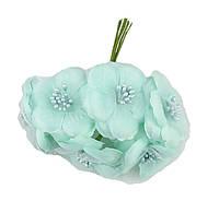 Цветы Мятные из ткани и фатина (тканевые) с тычинками D5,5 см Декоративный букетик 5 шт/уп