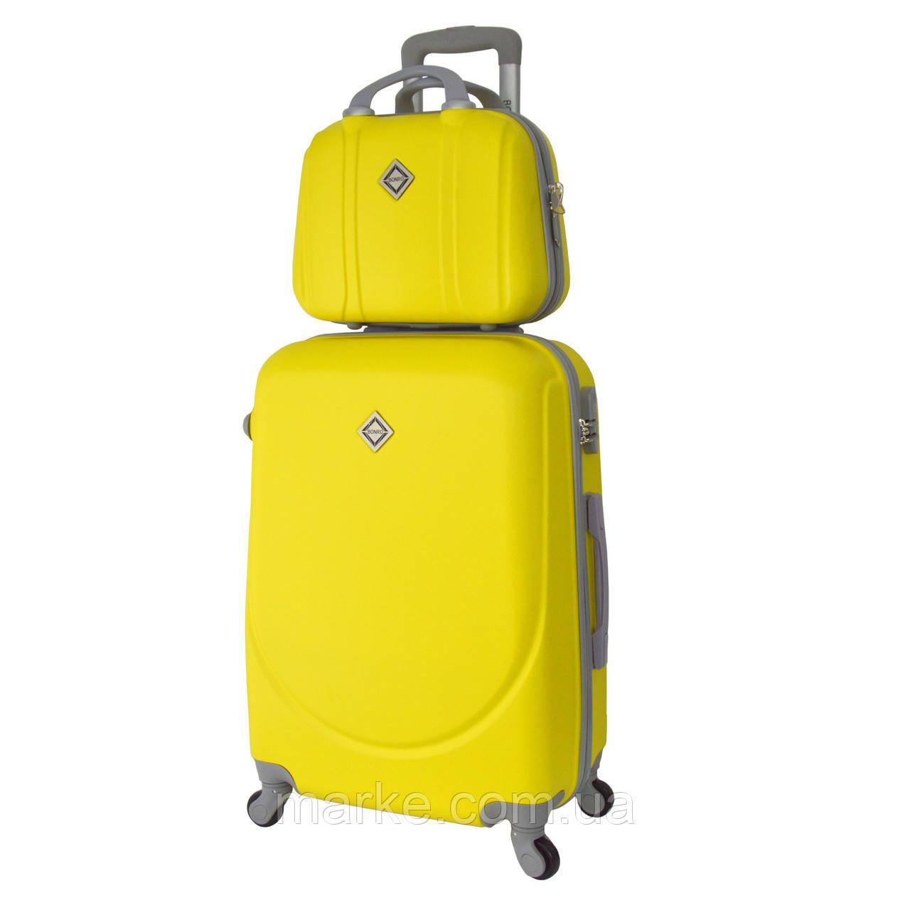 1166cd4dd39f Комплект чемодан + кейс Bonro Smile (средний) желтый  продажа, цена ...