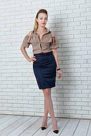 Классическая юбка карандаш 42-48 р т. синий, фото 1