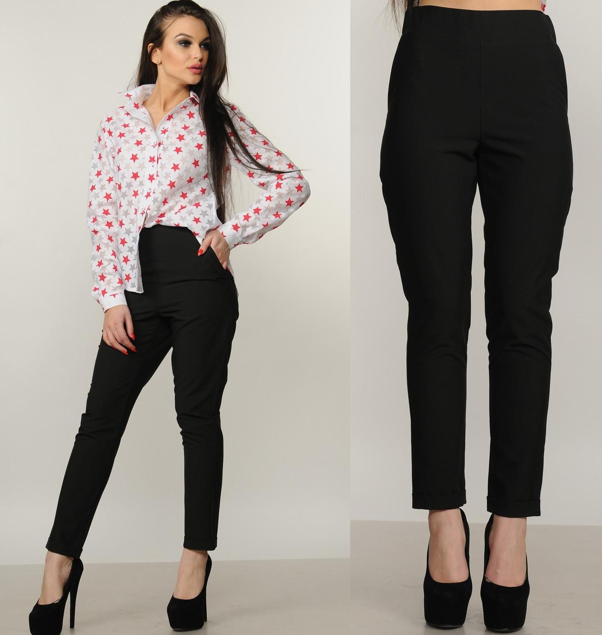 Брюки сигареты с высокой посадкой женские зауженные черные штаны с карманами на манжете