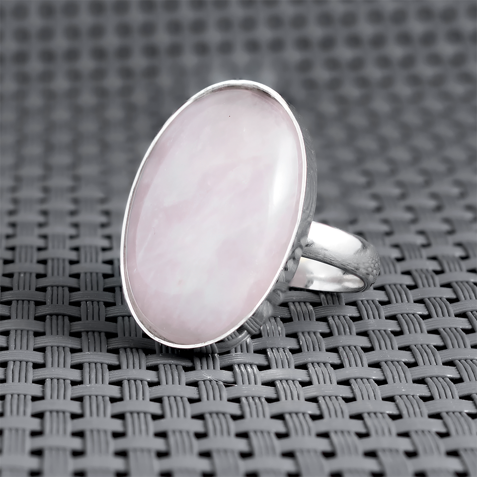 Рожевий кварц, 25*18 мм, срібло 925, кільце, 884КР