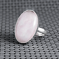 Рожевий кварц, 25*18 мм, срібло 925, кільце, 884КР, фото 1