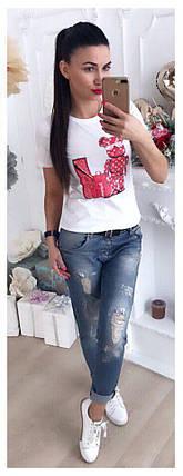Женская футболка люкс качества с оригинальной накаткой 42-46 р, фото 2