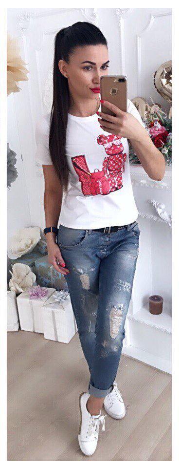 Женская футболка люкс качества с оригинальной накаткой 42-46 р