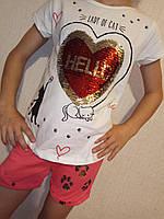 Костюм на девочку шорты футболка с пайетками Котик и сердце 104-110см паетки