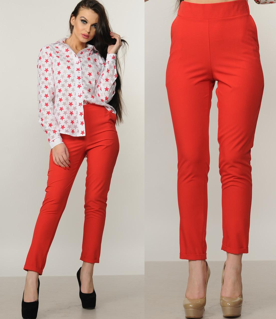 565f5472246d Красные брюки сигареты с высокой посадкой женские зауженные штаны с  карманами и манжетами