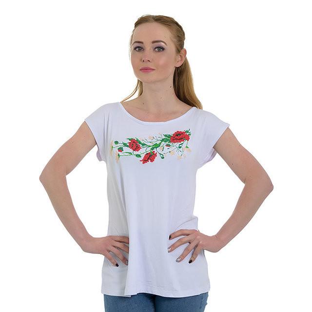 Купить Удлиненная женская футболка с маками