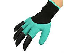 Садовые перчатки с пластиковыми наконечниками Kronos Garden gloves Бирюзовые (tps_119-8617936)