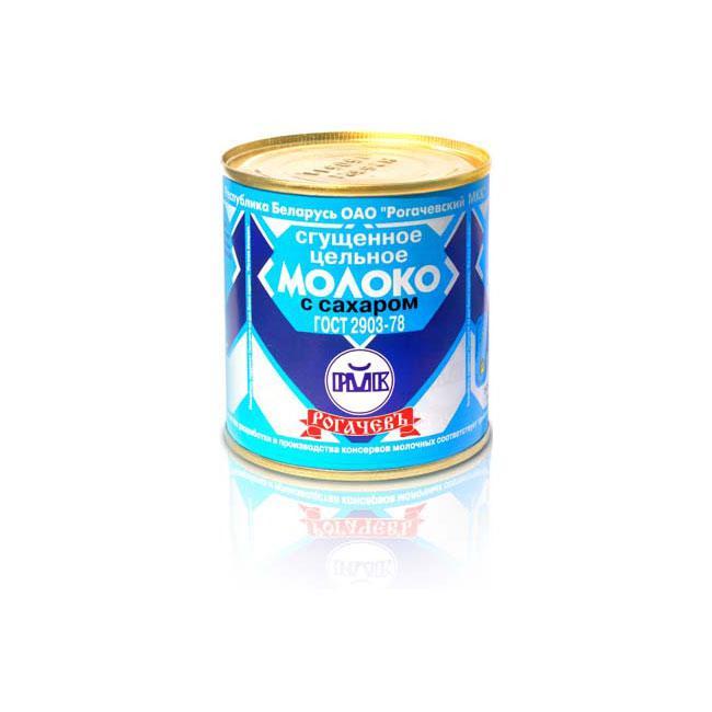 Сгущенное белорусское цельное молоко с сахаром 8,5% ТМ Рогачев 380 гр