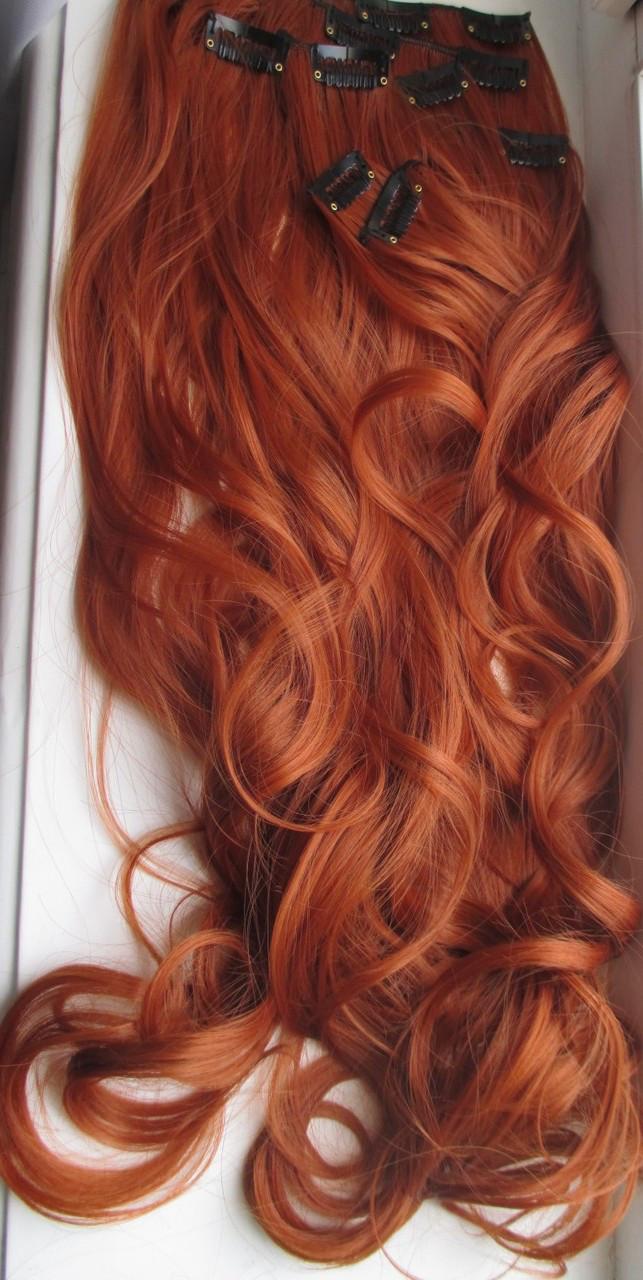 Волосы трессы на заколках ТЕРМО 8 прядей длина  47см огненный рыжий Ре