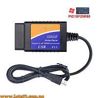 Автомобильный сканер FTDI USB ELM327 V1.5 OBD2 OBDII PIC18F25K80