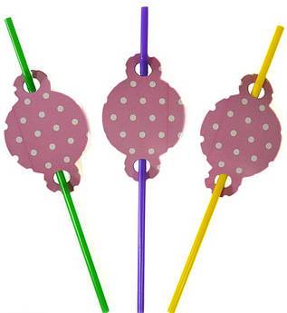 Коктейльные трубочки Горох на розовом 8 штук