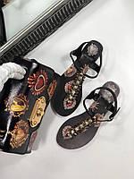 женские сандалии Dolce&Gabbana черные (реплика), фото 1