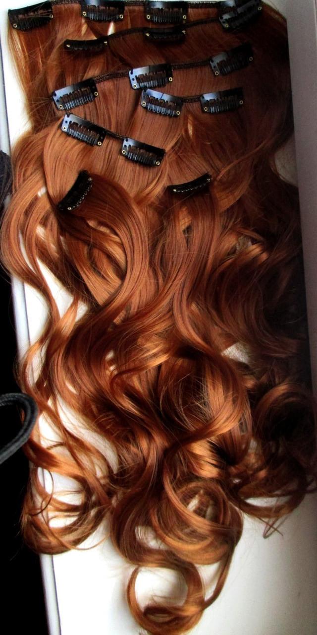 Волосы ТЕРМО на заколках 8 прядей 52см №30J рыжий медный Реальные фото