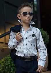 Детская школьная рубашка для мальчика длинный рукав ,на кнопках,белая Polo