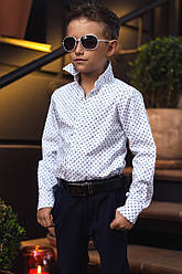 Детская школьная рубашка для мальчика белая длинный рукав на кнопках