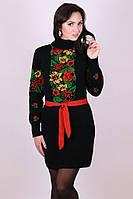 Туника женская вязаная Рябина, фольклорное платье, этностиль, платье в украинском стиле