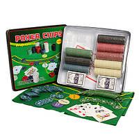 Настольная игра D25355 покер,фишки 500 шт,карты-2 колоды,сукно,в кор-ке(металл)33-29-7см