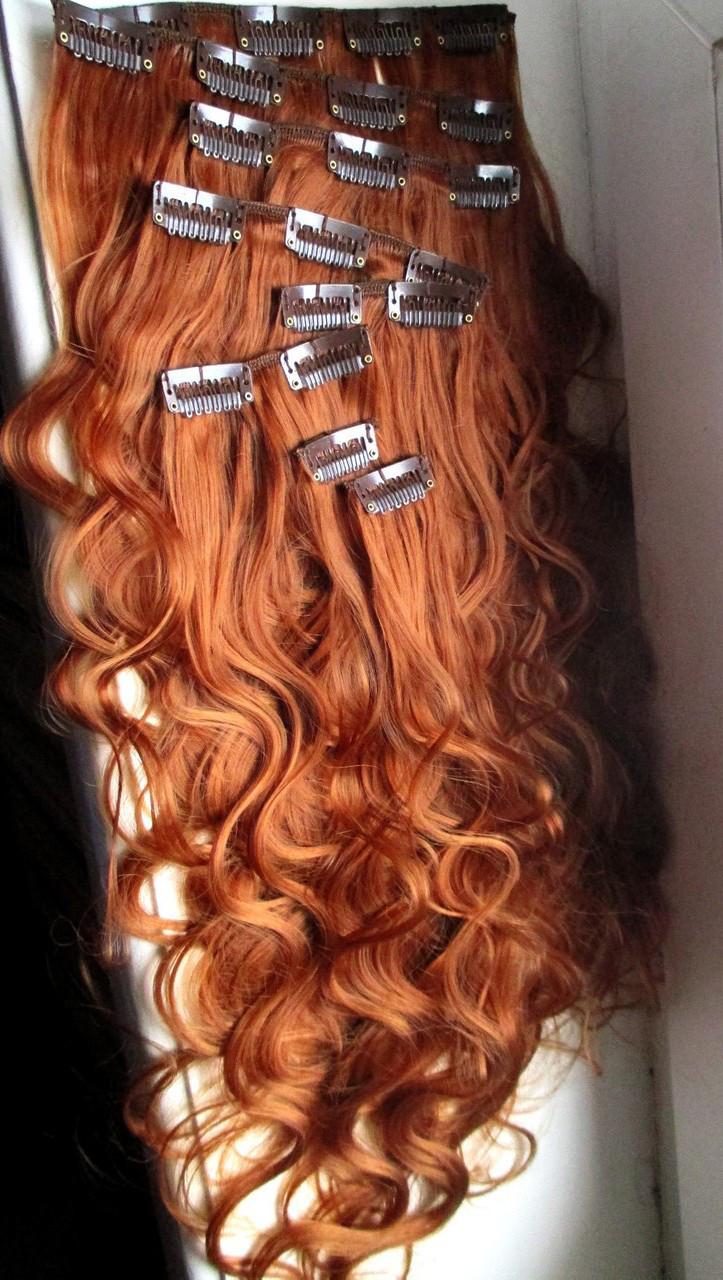 Волосы на заколках искусственные как натуральные 40см №130 рыжий медны