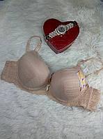Бежевый бюстгальтер на поролоне женский с гипюром лифчик чашка (C) на 3 крючка lingerie bra fashion, фото 1