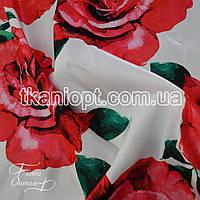 Ткань Атлас прокатный принтованный (красные розы)