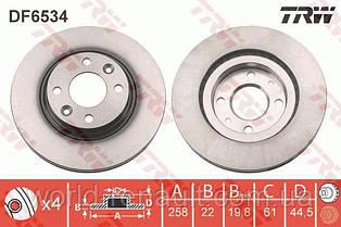 TRW DF6534 - Тормозной диск на Рено Логан 2, Сандеро Степвей 2 D=258мм