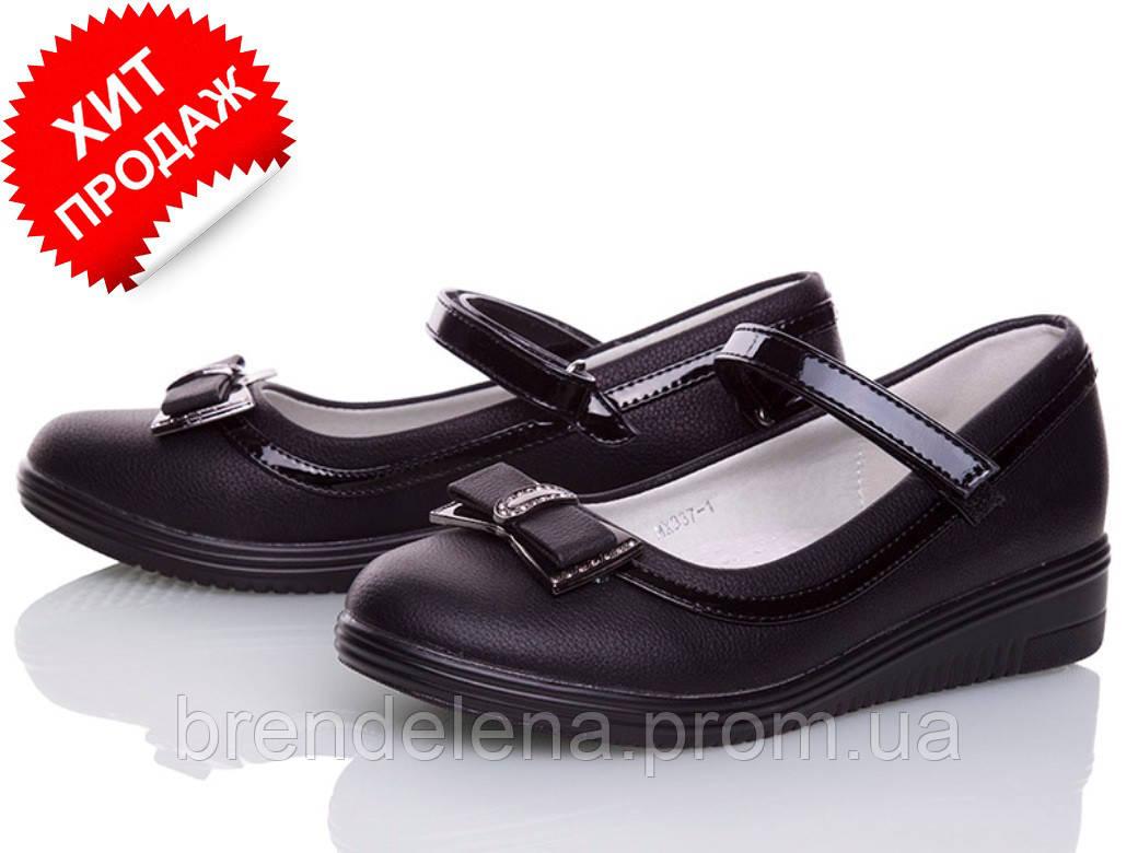 Стильні чорні туфлі для дівчинки р( 32-35)
