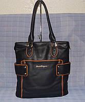 Женская сумка 68182 черная с коричневыми вставками, фото 1