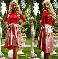Нарядное вечернее платье из костюмной ткани с напылением Хезер, цвет красный р.С М Л ХЛ ХХЛ 52