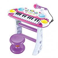 Детское пианино-синтезатор 7235 на ножках со стульчиком, розовое