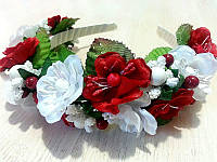 Обруч детский с красно-белыми цветами