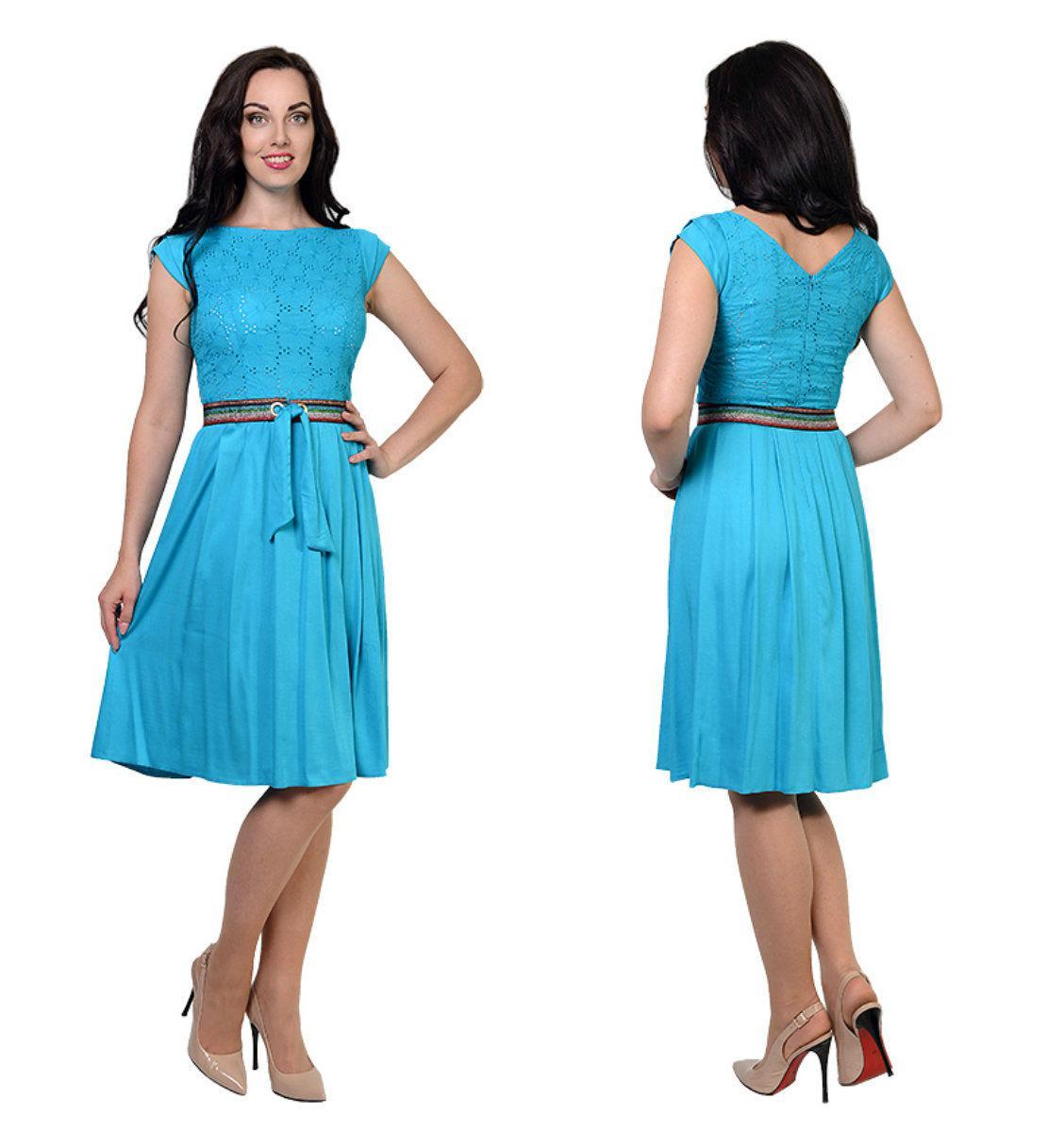 Платье Адель из шлифованного стрейч штапеля+шитьё, 46,48,50,52