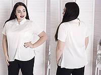 Шелковая женская блуза в больших размерах с укаршением 10BR905, фото 1