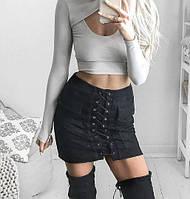 Стильная женская юбка черная 3026
