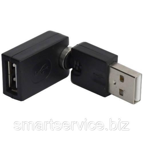 Переходник , штекер USB A- гнездо USB А, поворотный 360 градусов