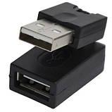 Переходник , штекер USB A- гнездо USB А, поворотный 360 градусов, фото 3