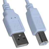 Шнур USB штекер A - штекер В, v.2,0, диам.-3мм, 0,8м, белый