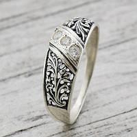 Ажурное серебряное кольцо 925* с цирконами