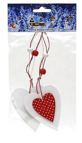 Набор елочных украшений в форме сердца (2шт), 781-200, фото 2