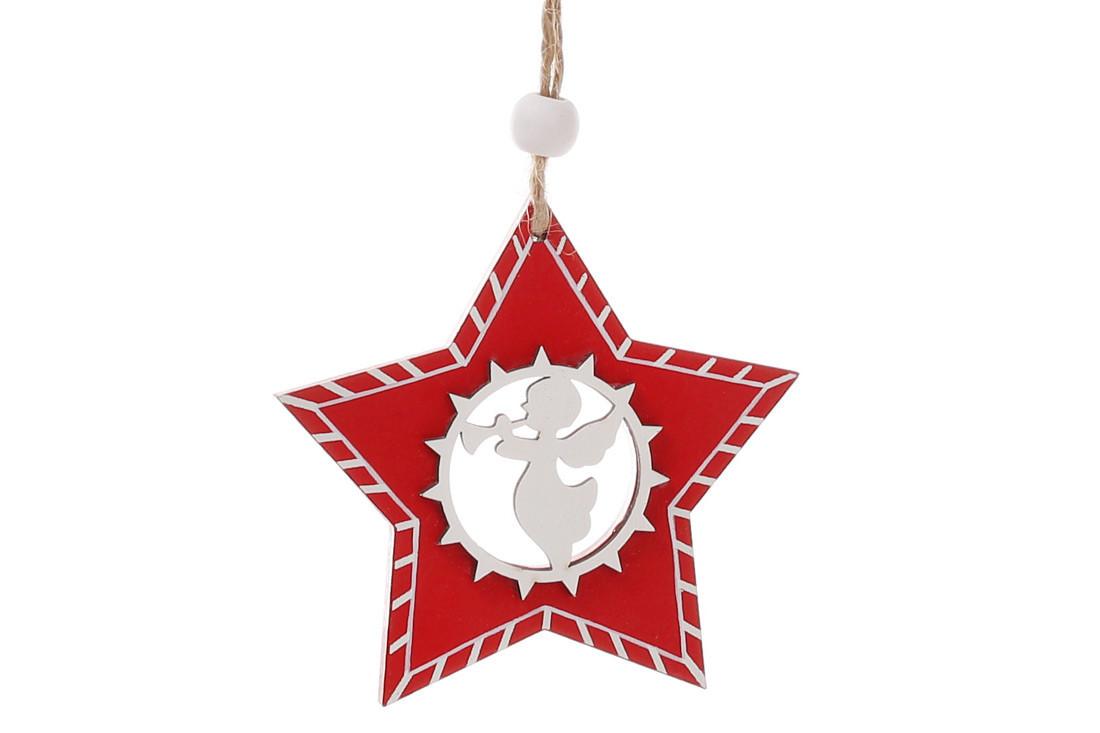 Набор (2шт) новогодних украшений Звезда с ангелом 8см, 781-287