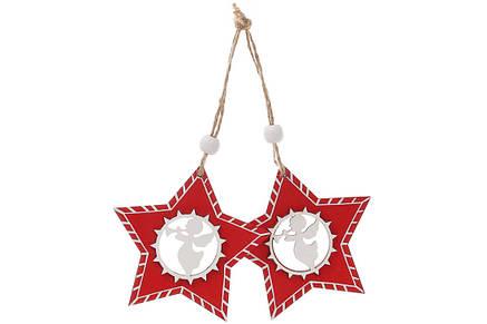 Набор (2шт) новогодних украшений Звезда с ангелом 8см, 781-287, фото 2