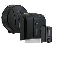 Набор для туалетной комнаты: дозатор мыла, держатель бумажных полотенец и держатель туалетной бумаги черные.
