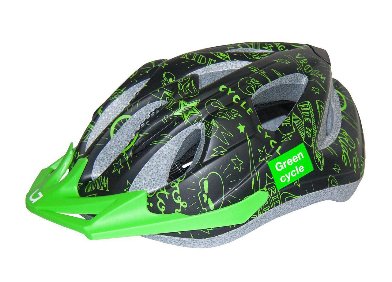 Шолом Green Cycle Fast Five дитячий 50-56 см Чорно/Зелений