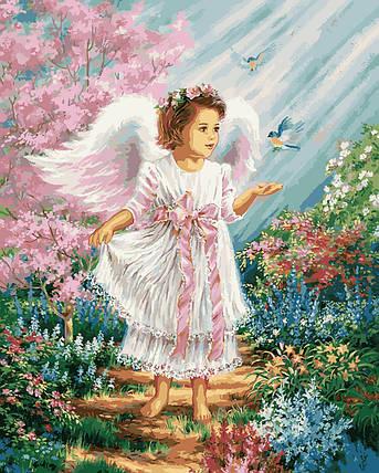 VP901 Набор-раскраска по номерам Ангелочек в цветущем саду, фото 2