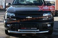 Защита переднего бампера d 76/60 двойная Союз 96 на Chevrolet TrailBlazer 2001-2004