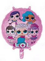 Фольгированный шар Куклы ЛОЛ  на розовом фоне , диаметр 45 см.