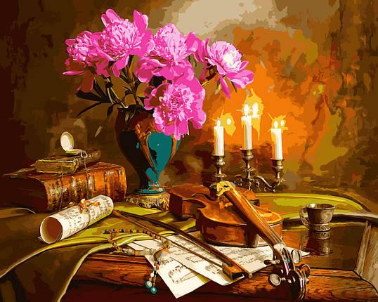 VP942 Набор-раскраска по номерам Натюрморт со скрипкой и пионами, фото 2